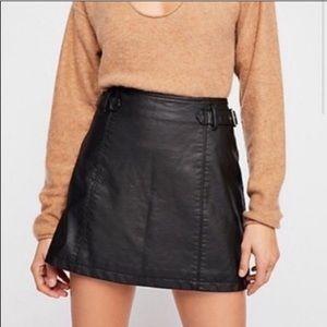 NWT Free People Black Mini Vegan Leather Skirt